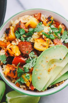 a delicious hawaiian-inspired fried rice packed with grilled chicken, pineapple, jalapeños & spicy portuguese sausage, the flavors of this hapa fried rice