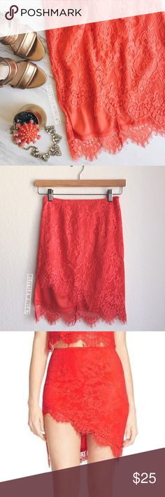 Missguided asymmetrical hem lace skirt Missguided | Asymmetrical hem lace skirt in bright coral. This flattering mini skirt features eyelash scallop trim, all over floral lace, and back zip closure. Fully lined. In excellent, like new condition.   Size: US 2 Labeled size: UK 6 Missguided Skirts Mini