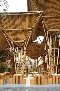 Inspiring Pictures Ideas For Excellent Bamboo Architecture By Vo Trong Nghia : Extraordinary Mexican Bamboo Architecture Design Ideas With Natural Wood Dining Table Feats Chairs Architecture Design, Bamboo Architecture, Vernacular Architecture, Sustainable Architecture, Bamboo Building, Natural Building, Building A Shed, Building Plans, Natural Wood Dining Table