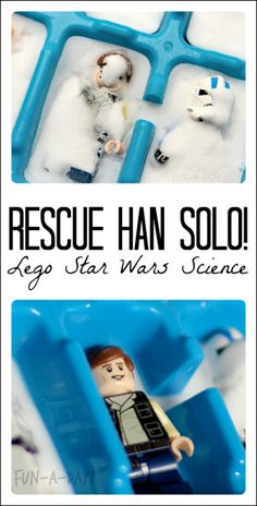 "Star Wars Party Discover This is Such an Awesome Star Wars LEGO Science Idea! An experiment for little Star Wars fans! In this Lego science activity kids save Han Solo from his ""carbonite"" prison with a special chemical reaction. Science Experiments Kids, Science For Kids, Science Activities, Science Projects, Activities For Kids, Science Fun, Lego Projects, Science Daily, Summer Science"