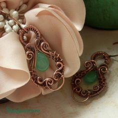 Lantén * lantern earrings  *chrysoprase, copper  * wire wrap * wirewrapping * wire artisan * handmade * wire * work * wirewrapped * wired