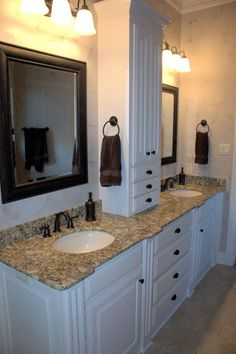double sink vanity with center cabinet. Master Bath  side by vanity with center storage tower bathroom vanities Double