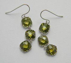 Olive Green Bridesmaid Earrings - Tri Color Earrings - White Gold Earrings - Bridal Earrings - Bohemian Earrings. $32.00, via Etsy.
