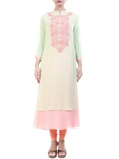 Green And Pink High Neck Tunic With Chiffon Flowers #Ekatrra #follow #Tunic  #Indiandesigner #Stepintoawesome #StepintoStyle #Collection #Clothing #Stylish #Follow #Fancy #Couture #Ethnic #Ethnicstyle  #Fashionblogger #Trendy Shop Now: http://bit.ly/1QvF8xu