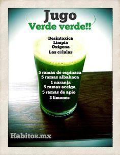 Zumo verde ANTI-OXIDANTE: espinacas, albahaca, naranja, acelgas, limones y apio