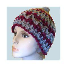Crochet Hat Cloche Beanie Cap: Gray & Ruby Mohair / Merino Wool Winter Fashion.