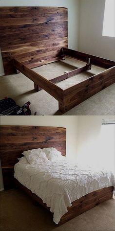 #BedFrame Wooden Bed Frame Diy, Wooden Beds, Wooden Bed Headboard, Simple Wood Bed Frame, Wood Bed Frames, Pallet Bedframe, Solid Wood Bed Frame, Wooden Furniture, Kids Furniture