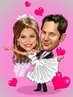Wedding caricatures from www.DrawMe.com.au. Any theme, any bodies and background all included and hand drawn from your photos