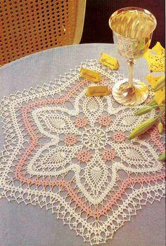 Thread Crochet Doily Patterns | Vintage fine thread crochet Star Table Mat, doily pattern