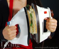 """Photo from the humorous article """"Iron Chef"""" in the Summer 2012 issue of Downsized Living. A household iron is ideal for making gourmet panini and other grilled sandwiches. And using two irons saves time!"""