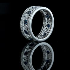 Lang Antiques ~ Sapphire & Diamond Wide Eternity Band $4150