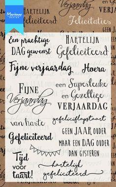 Cs0987 Clear stamp Felicitaties - Clear Stamps voor kaarten - Marianne Design Clear stamps - Hobbynu.nl