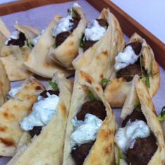 Tiny Lamb Meatballs with minty tzatziki sauce- in mini pitas : an easy, do ahead party snack