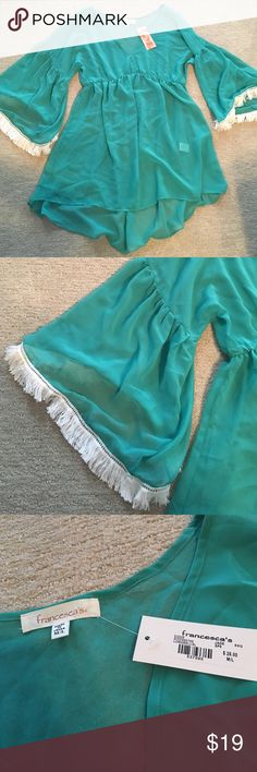 Francesca's Swim Coverup, new with tags Teal, M/L swim coverup with white fringe bell sleeves Francesca's Collections Swim Coverups