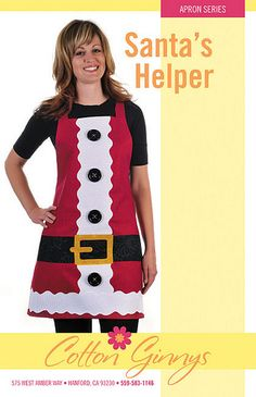 What could make your party cuter than this Santa Apron? You will be the talk of your own party. Easy to make apron. Ties that cross in Christmas Aprons, Christmas Sewing, Christmas Deco, Christmas Projects, Holiday Crafts, Cute Aprons, Sewing Aprons, Aprons Vintage, Sewing Projects