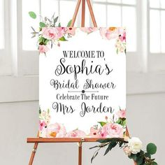 Printable Bridal Shower Sign, Custom Bridal Shower, Bridal Shower Decor,Floral Bridal sign, digital Download
