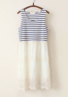 Love the combination of stripes and eyelet. Navy Blue Patchwork Striped Falbala Cotton Blend Dress