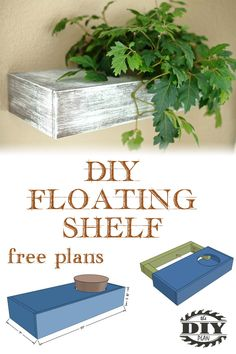 Awesome DIY floating shelf for a Plant. Build this using basic tools by following our step by step tutorial and downloadable PDF.  #diywoodworking  #woodworkingplans #diyhomeprojects #buildityourself #woodworkingideas #diyshelves #indoorplants #homedecor #homedecorideas #plants