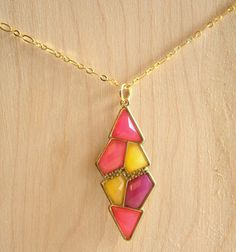 80's Style Necklace  Hot Pink Yellow and Purple Gems by kailochic