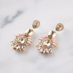 Canary and Champagne Pink Statement Earrings Size: 65MM X 32MM