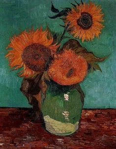 Vincent. Vase with Three Sun-flowers, first version: turquoise background. Arles: Aug 1888