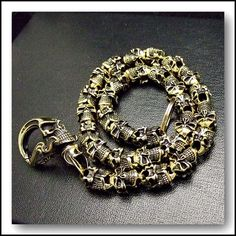 EXTREME Rosary SKULLS BRASS Wallet Chain, Biker, Punk - Oh yea!