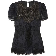 Anna Sui Embellished lace top ($340) ❤ liked on Polyvore featuring tops, shirts, black, anna sui, black lace shirt, black lace top, embellished tops, shirts & tops and black shirt