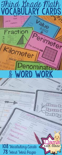 Great practice for content based vocabulary in third grade math. Word work is perfect to use throughout the day and vocabulary cards add visual reinforcements. Great deal!