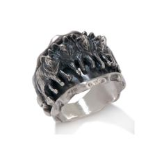 """Chaco Canyon Southwest Sterling Silver """"Wolf Pack"""" Ring at HSN.com ($60) ❤ liked on Polyvore featuring jewelry, rings, accessories, sterling silver jewelry, sterling silver wolf ring, sterling silver rings, chaco and sterling silver jewellery"""