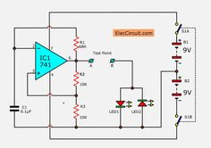 How to test a diode. tester circuit can check the diode the good or bad and also can indicate its polarity. using op-amp and LED for display. Electronics Gadgets, Electronics Projects, Gadgets Online, Circuit Projects, Circuit Diagram, Arduino, Crossover, Led, Corner