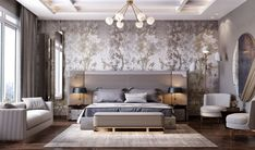 Get striking wallpapers that add modernity to your private sanctuary and blend perfectly with your contemporary bedroom style. #Atominteriors #interiordesigners #wallpapers #wallpaperdesigns #wallpapersticker #wallpaperdinding #wallpapermurah #wallpaperdecor #homedecor #walldecor Luxury Bedroom Furniture, Luxury Bedroom Design, Master Bedroom Design, Home Decor Bedroom, Interior Design, Bedroom Designs, Furniture Nyc, Master Suite, Design Interiors