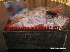 Husband survival kit. Funny idea! Need to find a way to do it with less candy.