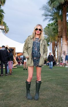 Coachella 2012 - Kate Bosworth - Floral Mini + Hunter wellies