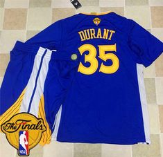 63cd1a6ca ... Warriors 35 Kevin Durant Blue Long Sleeve A Set The Finals Patch  Stitched NBA Jersey.