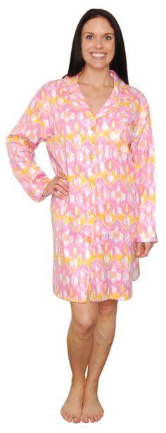 bSoft Ikat Pink Longsleeve Bamboo Flannel Sleepshirt