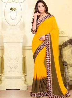 Yellow Mehandi Printed Patch Border Lace Work Georgette Designer Saree http://www.angelnx.com/Sarees/Designer-Sarees