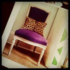 leopard pillow + purple velvet chair = adorable