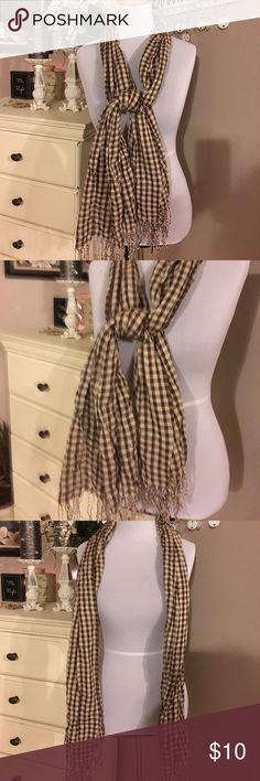 Checkered Long Scarf Cute brown and cream checkered long scarf. Excellent condition Accessories Scarves & Wraps