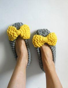 Chunky slippers for women - Non-Slip Slippers - Home flats - Handmade shoes - Knitted slippers - House flats - Ballet Flats  - NENAKNIT