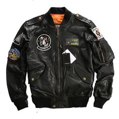 Find More Leather & Suede Information about Men's Leather Jacket Embroidery…