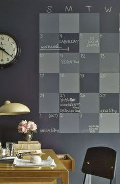Chalkboard Paint Wall Calendar. Great idea for home office.