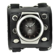 Strap on this unusual men's cuff watch for a look that is both casual and attention-getting. This water-resistant watch by Nemesis is embedded within a wide leather strap that gives a look of edgy sophistication to whatever outfit you wear it with.