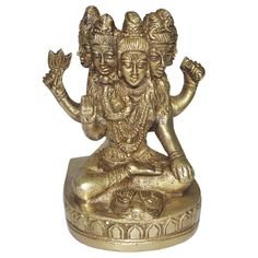 Handmade Brass Statue of Lord Shiva with five faces
