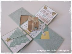 Explosion box for Christmas in mint macaroon and gold . Stamped Christmas Cards, Christmas Paper Crafts, Xmas Cards, Handmade Christmas, Christmas Crafts, Pop Up Cards, Cool Cards, Emma Bebe, Card In A Box