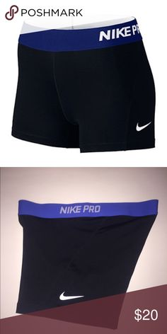 """Nike Pro 3'' Shorts for Volleyball / Track Black Nike Pro 3"""" Shorts with Dark Blue Band. 80% Polyester, 20% Spandex. Excellent Condition. Nike Shorts"""
