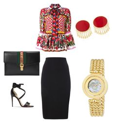 """Polish me in red "" by tayanarwms on Polyvore featuring Dolce&Gabbana, Gucci, Silhouette and Christian Louboutin"