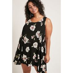 Forever21 Plus Size Floral Swing Dress ($35) ❤ liked on Polyvore featuring plus size women's fashion, plus size clothing, plus size dresses, black, floral print dress, crochet dress, sleeveless swing dress, short floral dresses and full length dresses