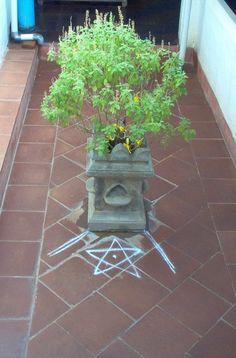 Tulasi vrindavan at the entrance of a house.