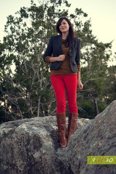 Red jeans for fall - work casual friday Kendi Everyday