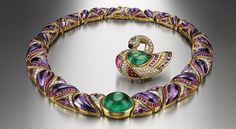 Necklace and brooch in gold with emerald, amethysts, rubies and diamonds, 1989 - Bulgari